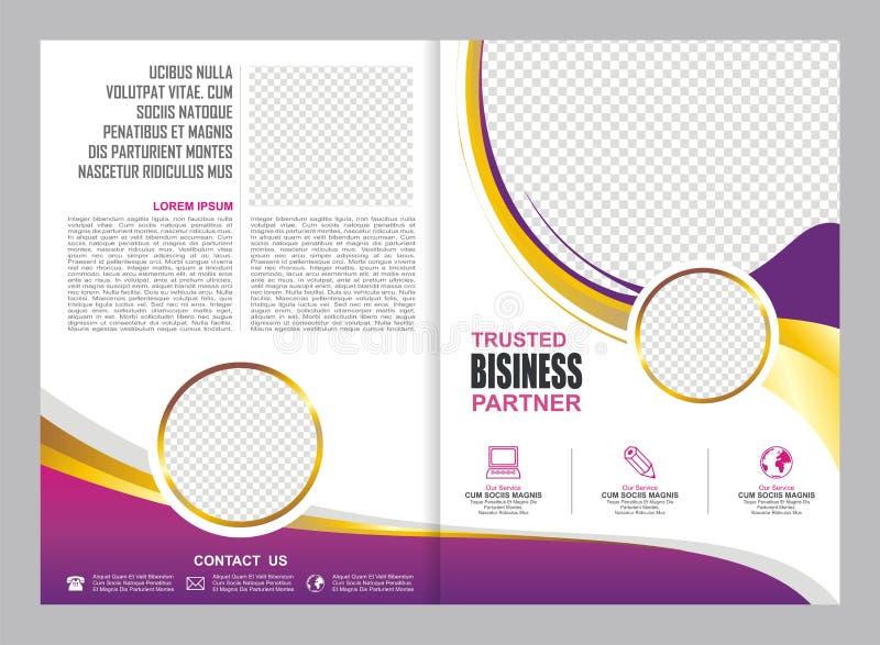 Розовая и фиолетовая брошюра, рогулька, дизайн шаблона иллюстрация вектора