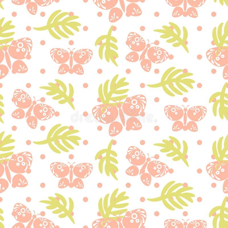 Розовая картина вектора листьев и бабочек ладони безшовная иллюстрация штока