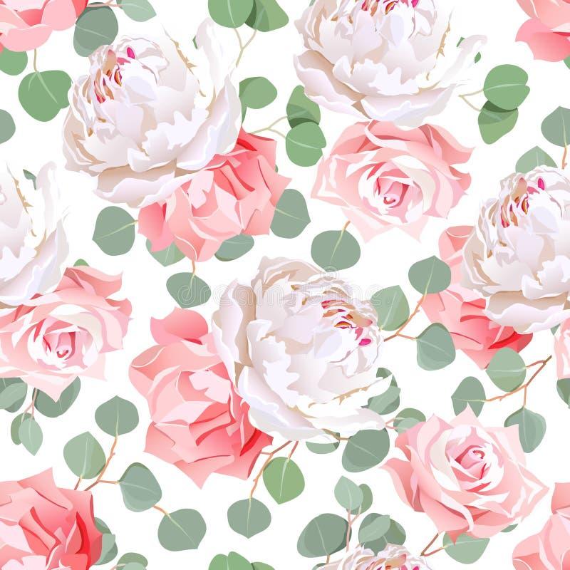 Розовая картина вектора листьев роз, гвоздики, пиона и eucaliptus безшовная иллюстрация штока