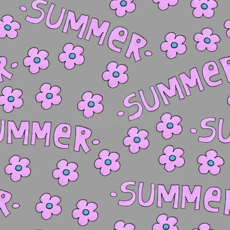 Розовая картина лета для предпосылки или пакета Концепция сезонов с цветками стоковое изображение