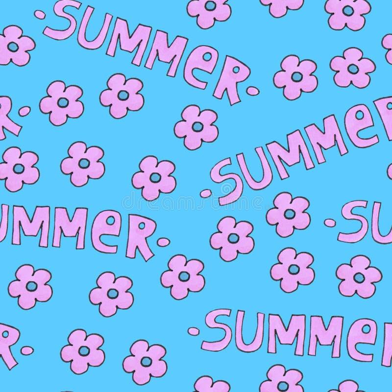 Розовая картина лета для предпосылки или пакета Концепция сезонов с цветками иллюстрация штока