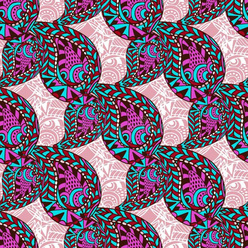 Розовая картина Пейсли богато украшенная безшовная Безшовную картину вектора можно использовать для обоев, заполнений картины, тк иллюстрация вектора