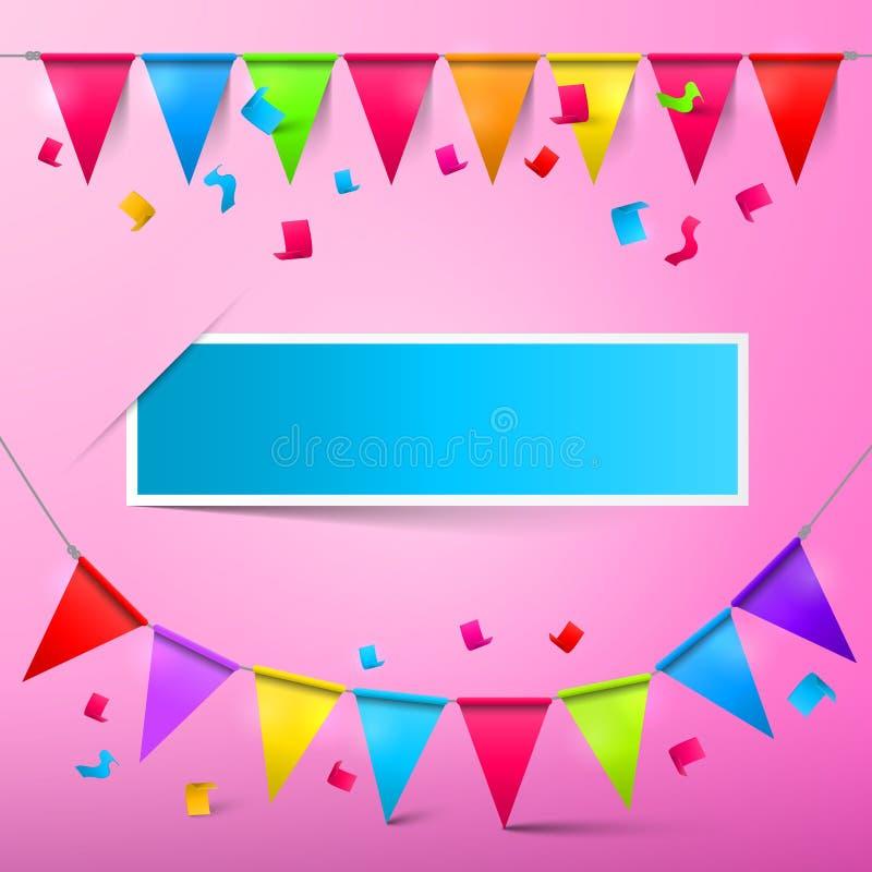 Розовая карточка партии - Confetti и флаги овсянки иллюстрация вектора