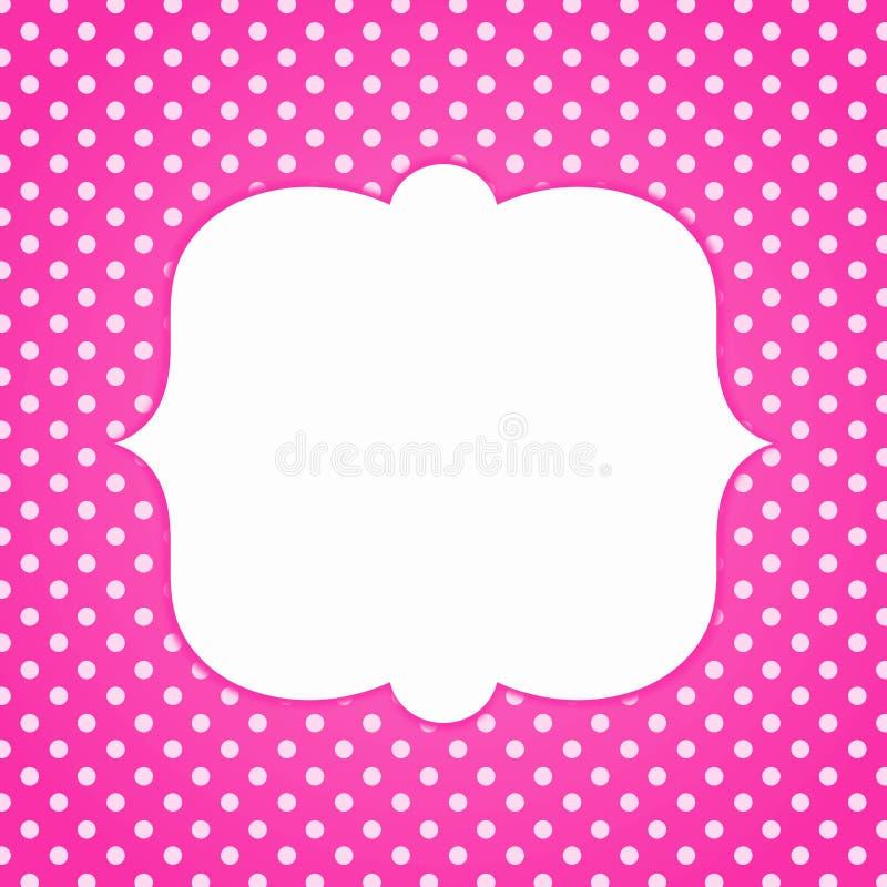 Розовая карточка приглашения точек польки иллюстрация штока