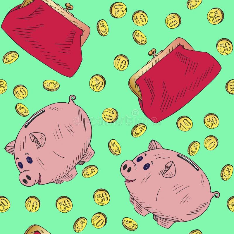 Розовая копилка и ретро портмоне стиля с золотыми монетками льют в его, эскиз doodle руки вычерченный, безшовный дизайн картины н иллюстрация вектора