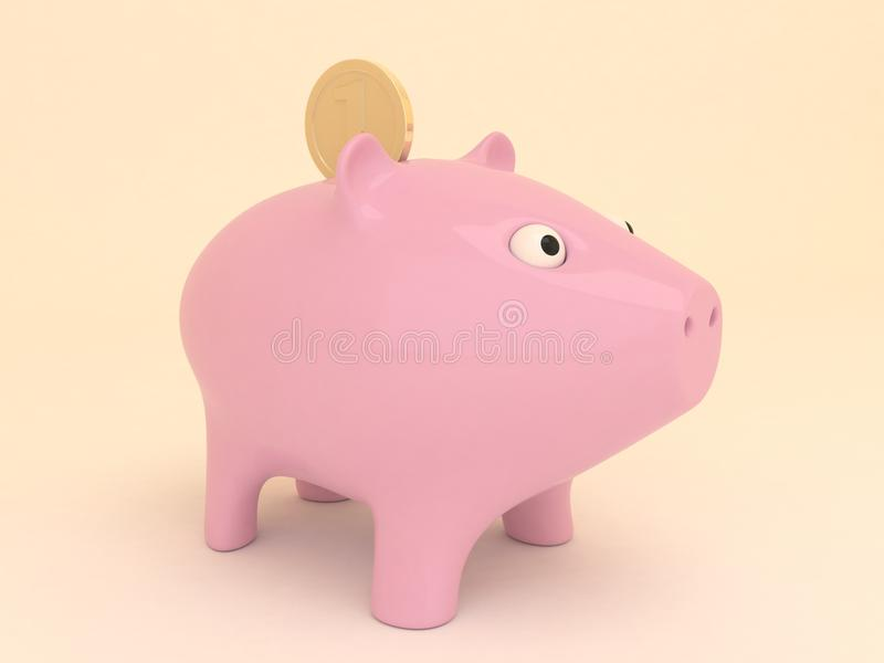 Розовая копилка с золотой монеткой стоковое фото rf
