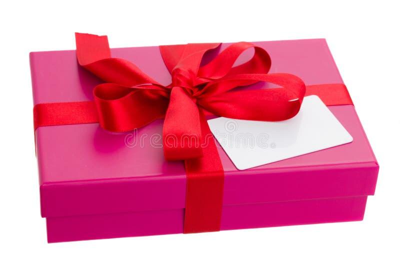 Коробка подарка с пустой карточкой стоковые фотографии rf