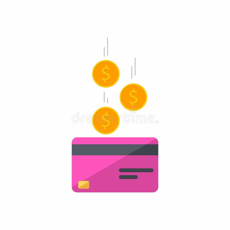 Розовая кредитная карточка, зарабатывает деньги, карту банка, монетку, финансы, дело, вектор, плоский значок, падая монетки, пада иллюстрация вектора