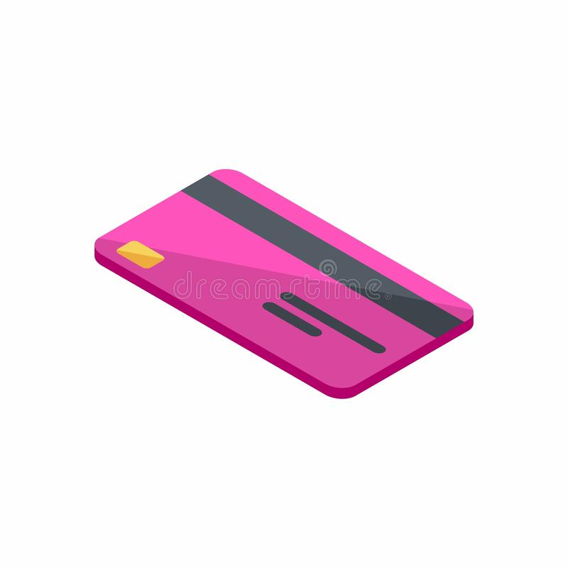 Розовая кредитная карточка, равновеликая, финансы, дело, карта банка, вектор бесплатная иллюстрация