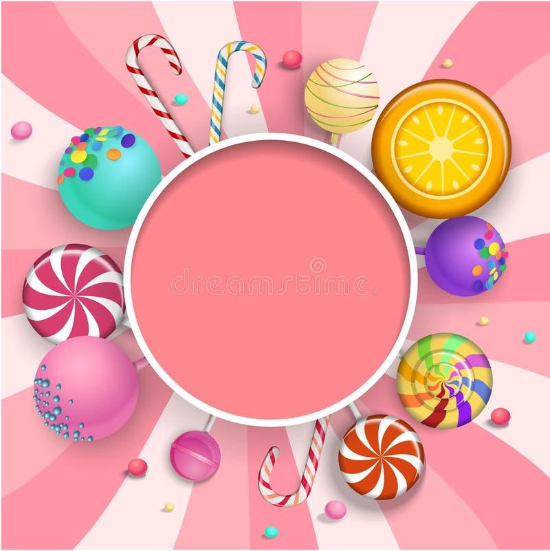 Розовая круглая предпосылка с красочными леденцами на палочке бесплатная иллюстрация