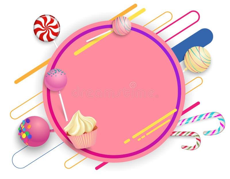 Розовая круглая предпосылка с леденцами на палочке и тросточками цвета бесплатная иллюстрация