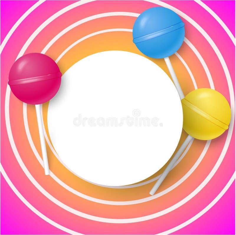 Розовая круглая предпосылка с леденцами на палочке цвета иллюстрация штока