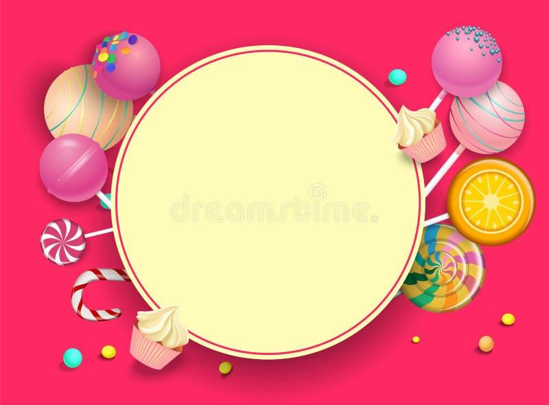 Розовая круглая предпосылка с леденцами на палочке цвета иллюстрация вектора