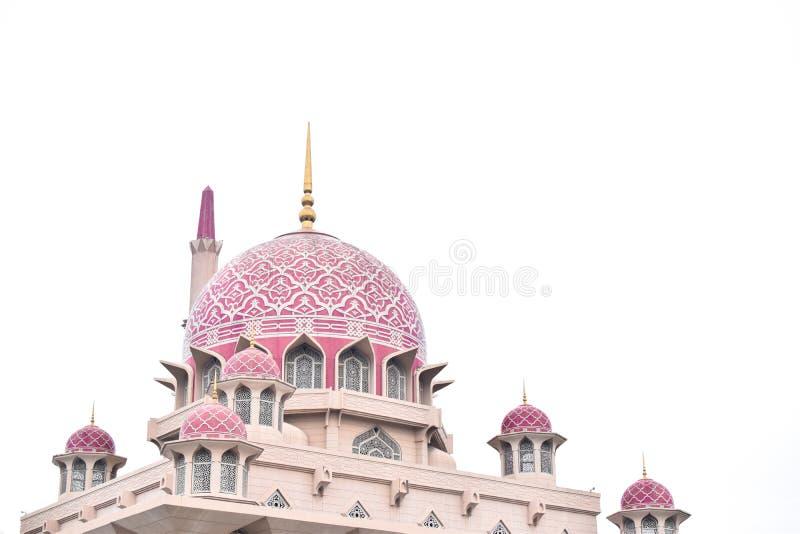 Розовая мечеть с белой предпосылкой Putra, Путраджайя Masjid стоковое изображение