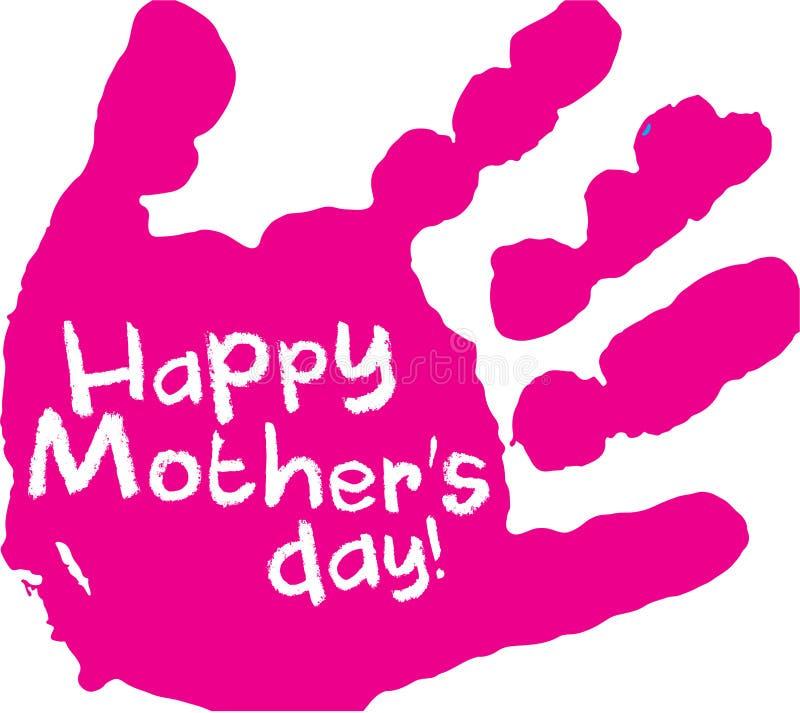 Розовая печать руки дня ` s матери стоковое фото