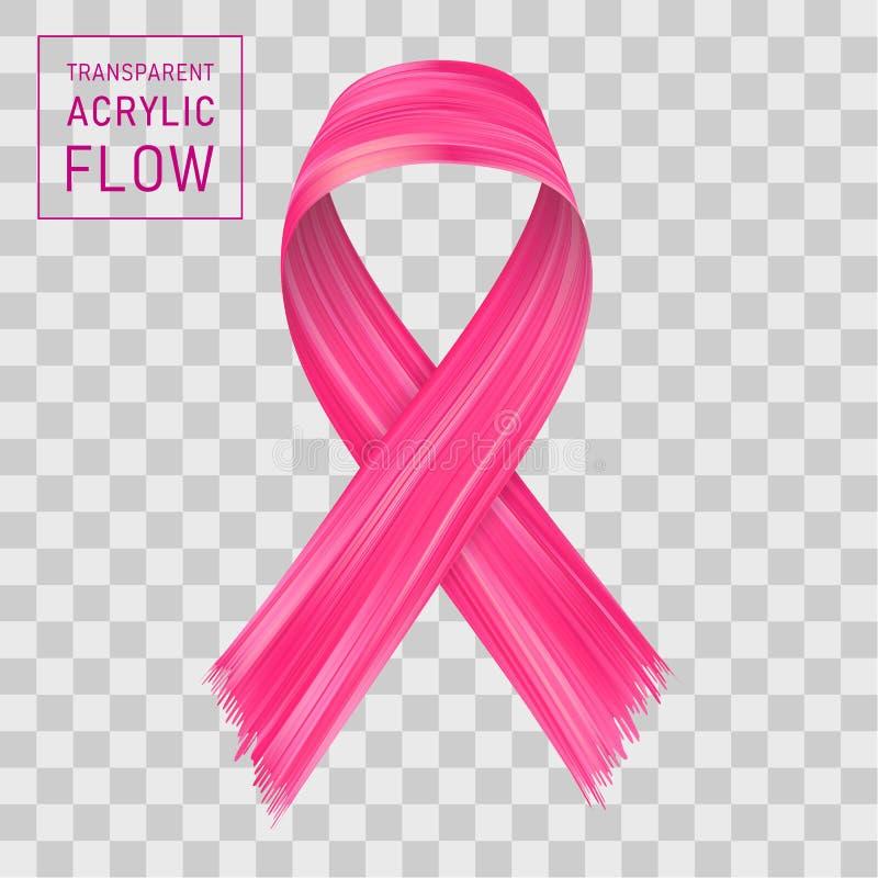 Розовая подача ленты, символ осведомленности рака молочной железы иллюстрация штока