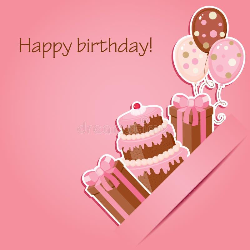 Розовая поздравительая открытка ко дню рождения иллюстрация штока