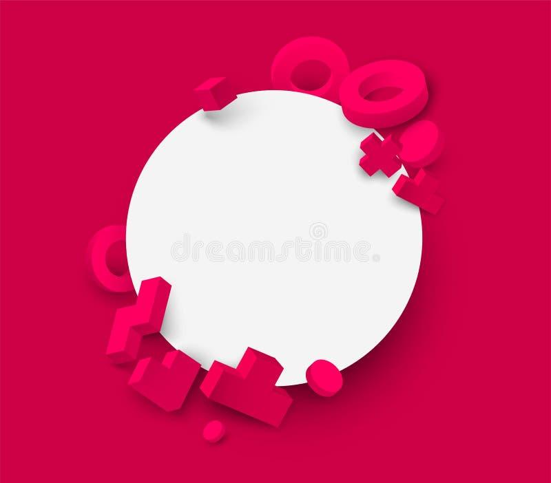Розовая предпосылка с белой круглой рамкой и геометрическими диаграммами 3d бесплатная иллюстрация