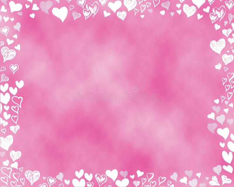 Розовая предпосылка с белыми сердцами стоковые изображения rf