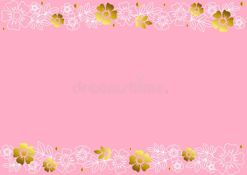 Розовая предпосылка с декоративными нашивками выравнивает верхнее и внизу с золотыми и белыми цветками и листьями плана иллюстрация вектора