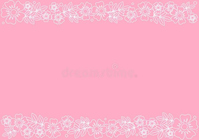 Розовая предпосылка с декоративными нашивками выравнивает верхнее и внизу с белыми цветками и листьями плана иллюстрация вектора