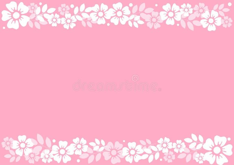Розовая предпосылка с декоративными нашивками выравнивает верхнее и внизу белых цветков и листьев иллюстрация вектора