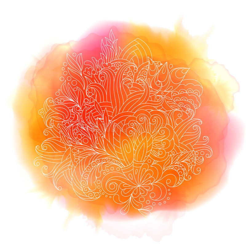 Розовая предпосылка краски акварели при белая рука нарисованная вокруг doodles и мандал Дизайн вектора фона иллюстрация вектора
