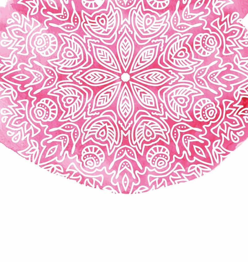 Розовая предпосылка краски акварели при белая рука нарисованная вокруг doodles и мандал Дизайн вектора фона иллюстрация штока