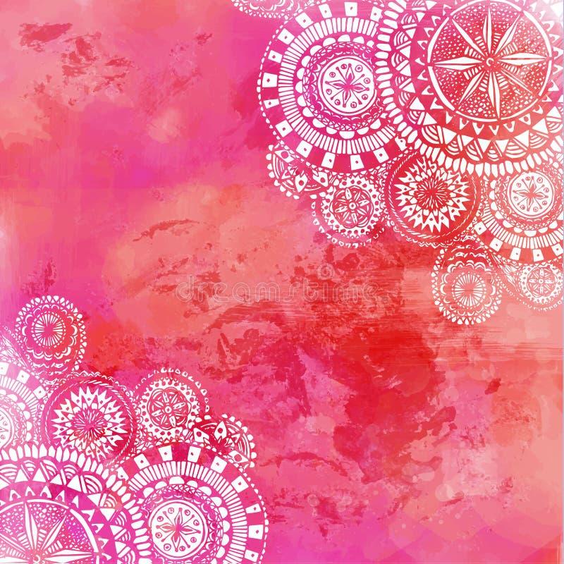 Розовая предпосылка краски акварели с белой рукой бесплатная иллюстрация