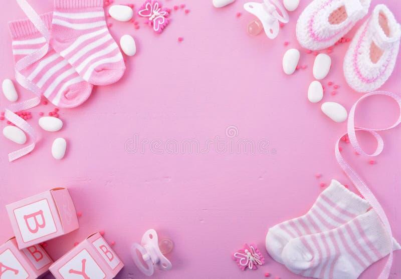 Розовая предпосылка питомника детского душа стоковое изображение
