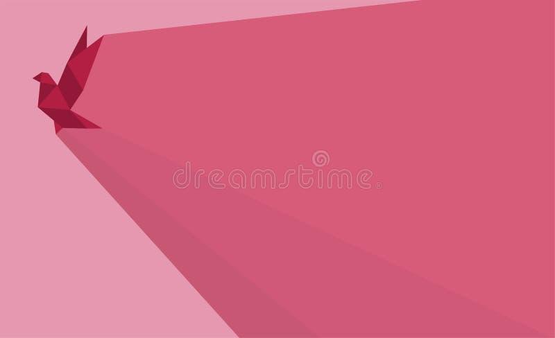 Розовая предпосылка птицы Origami стоковая фотография