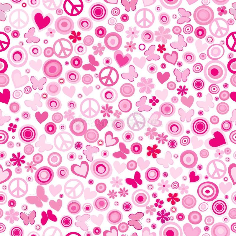 Розовая предпосылка силы цветка безшовная иллюстрация вектора