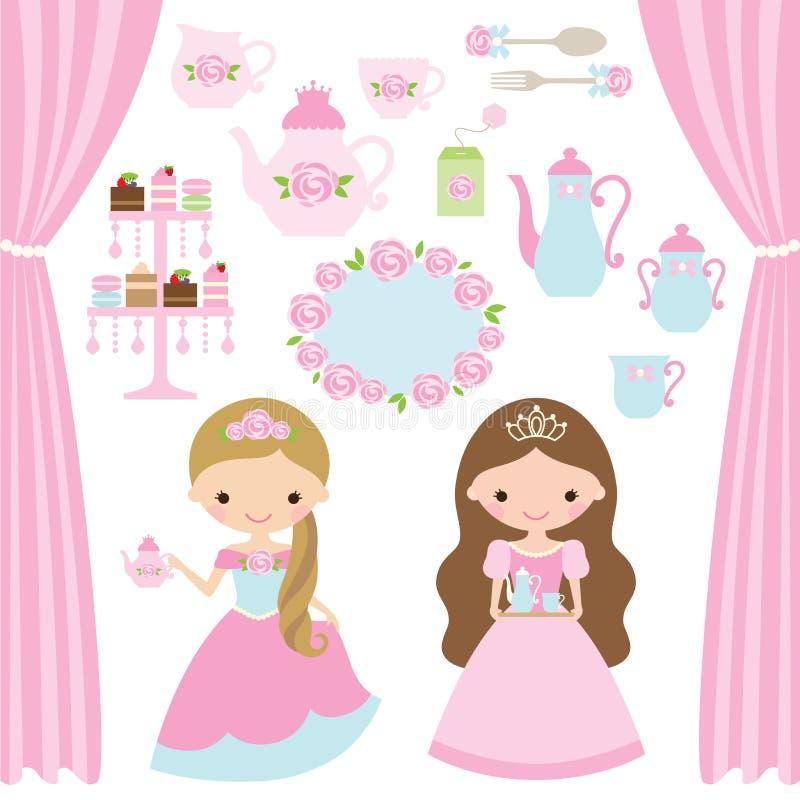 Розовая принцесса чаепитие бесплатная иллюстрация
