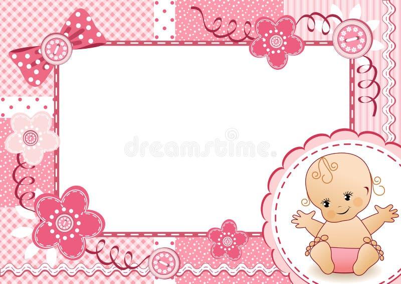 Розовая рамка младенца. иллюстрация штока