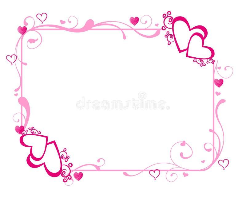 Розовая рамка сердец иллюстрация вектора