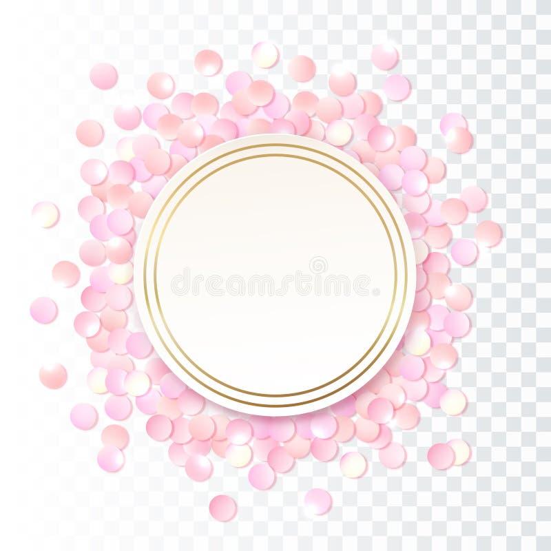 Розовая реалистическая круглая рамка confetti, шаблон дизайна для подарка, сертификата, ваучера, брошюры ОБЪЯВЛЕНИЯ и так иллюстрация штока