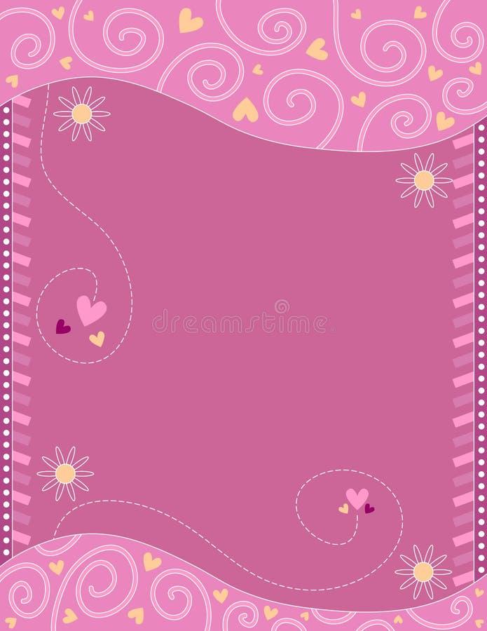 Розовая романтичная предпосылка с цветками, сердцами и скручиваемостями бесплатная иллюстрация