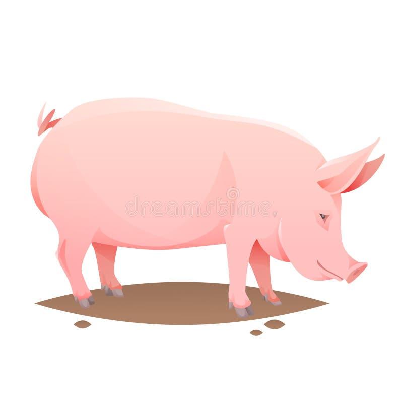 Розовая свинья фермы иллюстрация вектора
