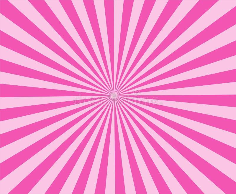 Розовая современная нашивка излучает предпосылку розовый конспект sunburst иллюстрация штока