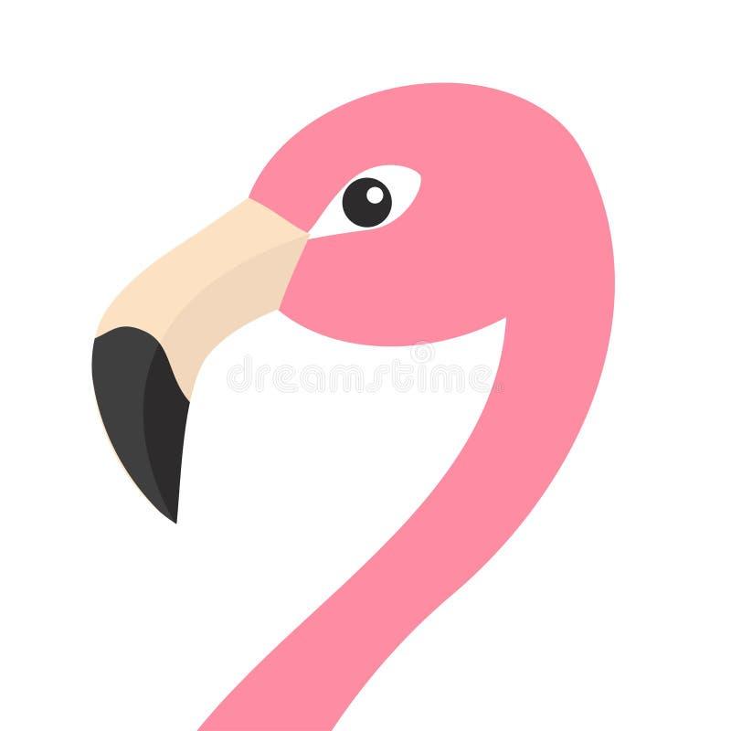 Розовая сторона головы фламинго с длинной шеей Экзотическая тропическая птица Собрание животного зоопарка Милый персонаж из мульт иллюстрация вектора