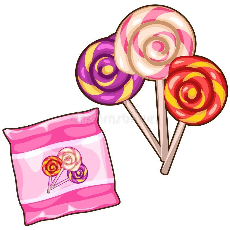 Розовая сумка с 3 красочными спиральными леденцами на палочке иллюстрация штока