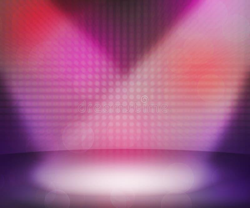 Розовая темнота Spotlights комната иллюстрация вектора