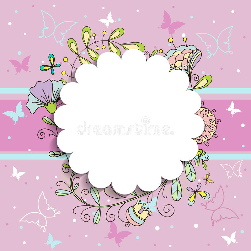Розовая флористическая круглая рамка для вашего текста образца бесплатная иллюстрация
