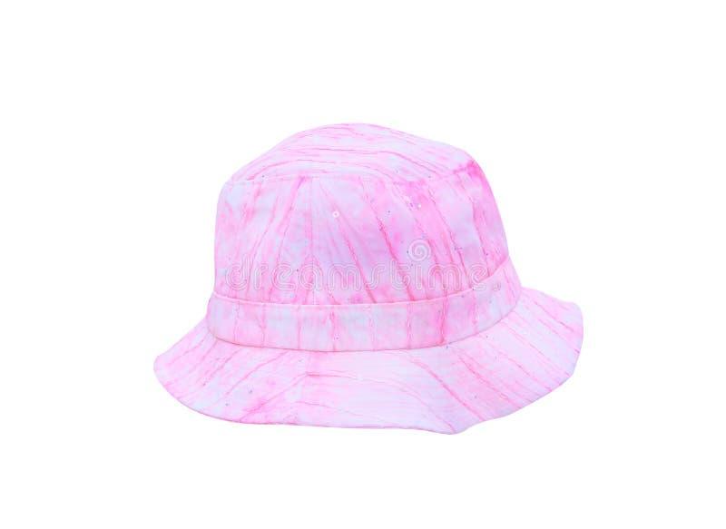 Розовая шляпа ткани с линией картинами изолированными на белом пути предпосылки и клиппирования, handmade стоковые фото