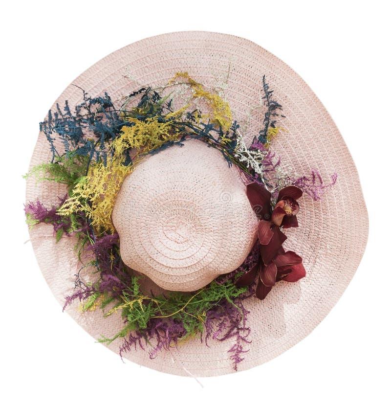 Розовая шляпа с бургундской орхидеей стоковые фото