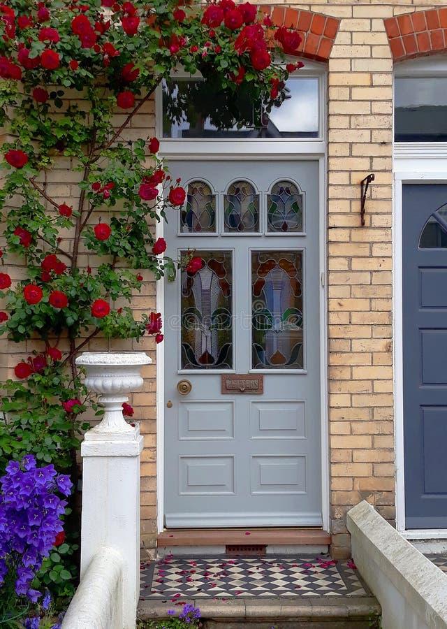 Розовое дерево входной дверью стоковое фото rf