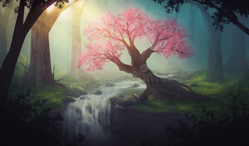 Розовое дерево в лесе иллюстрация вектора