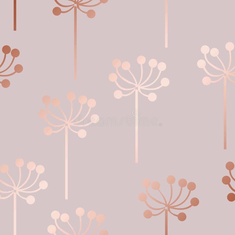 Розовое золото Декоративная картина вектора с флористическими элементами иллюстрация штока