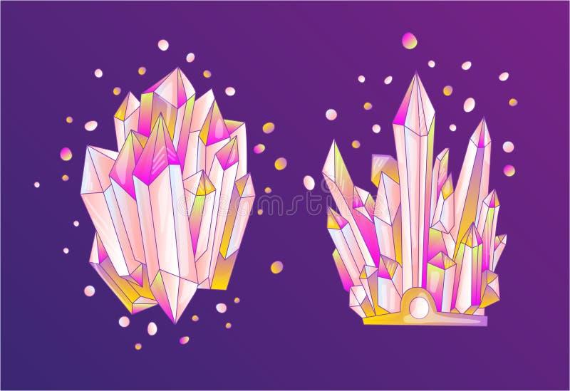 Розовое кристаллическое, иллюстрация кварца вектора мультфильма милая Друза Кристл кварца, розовое зерно принцессы на фиолетовой  иллюстрация вектора