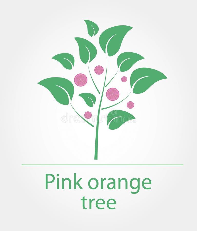 Розовое оранжевое дерево иллюстрация вектора